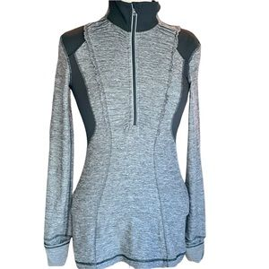 """LULULEMON """"Run Your Heart Out"""" 1/2 Zip Pullover - Heathered Black"""